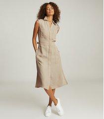 reiss effie - utility shirt midi dress in stone, womens, size 14