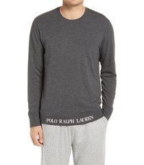 men's polo ralph lauren mini terry long sleeve sleep shirt, size small - grey