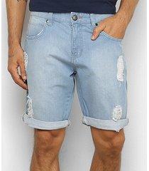 bermuda jeans wrangler delavê destroyed masculina