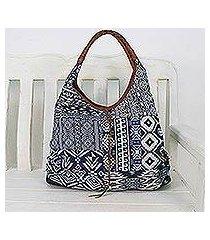leather accent cotton blend hobo handbag, 'lapis geometry' (thailand)