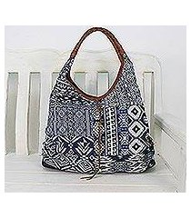leather accent cotton blend hobo handbag, 'lapis geometry' (thailand)