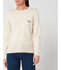 a.p.c. women's logo sweatshirt - ecru - xs