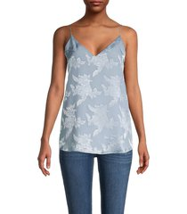 calvin klein women's embroidered floral top - blue - size m