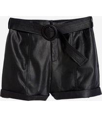 shorts dudalina liso com cinto couro fake feminino (rosa medio - v19, 48)