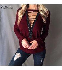 zanzea de mujeres gargantilla v profundo ata para arriba el suéter del puente de la blusa casual tapas de la camisa más el tamaño -rojo