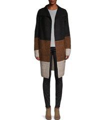 max studio women's multicolored striped cardigan - black beige - size l