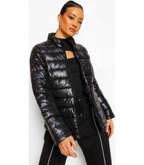 gewatteerde jas met hoge hals, black