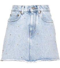 miu miu iconic crystal-embellished denim skirt - blue