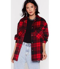 womens check out the facts relaxed shirt jacket - red