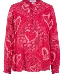tunica con cuori a maniche lunghe (rosso) - bpc bonprix collection
