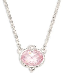 ambrosia sterling silver, white topaz & pink cubic zirconia pendant necklace