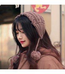 le donne invernali vogue maglia fascia nastro di lana hairball orecchie calde outdoor travel home fascia
