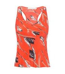 regata feminina seda estampada - laranja