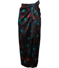 ganni women's silk stretch long skirt - black - size xxs