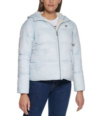 levi's hooded fleece-lined puffer coat, created for macy's
