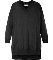 women's v neck soft tunic sweater