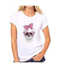 camiseta caveira coolest laço feminina