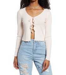 women's bp. tie front stretch cotton top, size x-large - pink