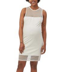 women's stowaway collection shadow dot maternity sheath dress, size small - ivory