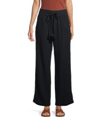 heroes & dreamers women's cotton wide-leg pants - black - size m
