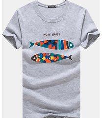 t-shirt da uomo casual a manica corta con stampa o-collo per uomo