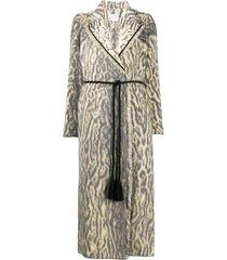 forte forte animal print belted midi coat - neutrals