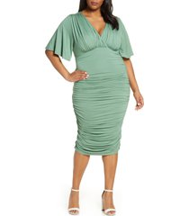 plus size women's kiyonna rumor ruched body-con dress, size 3x - green