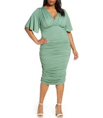 plus size women's kiyonna rumor ruched body-con dress, size 0x - green