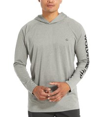 wolverine men's sun-stop pullover hoody concrete heather, size xxl