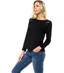 blusa negra etam encaje