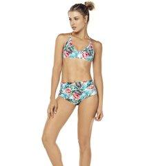 bikini tropical tiro alto multicolor lisantino