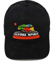 boné krew trucker california republic psico preto - kanui