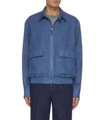zip front linen jacket