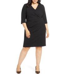 plus size women's tahari elbow sleeve pleat detail sheath dress, size 22w - black