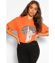 leopard lip print t- shirt, orange