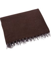 native yoga solid color woven blanket brown cotton