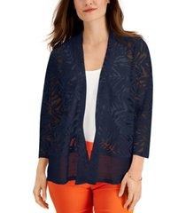 jm collection burnout-pattern mesh-hem cardigan, created for macy's