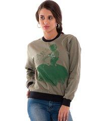 blusão konciny moletom básico estampado verde