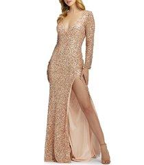mac duggal women's sequin column gown - crushed berry - size 0