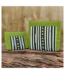 cotton blend cosmetic bags, 'exotic lisu in lime green' (pair) (thailand)