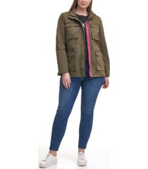 levi's trendy plus size cotton-twill stand-collar military jacket