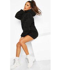 the basic mix & match oversized hoodie dress, black