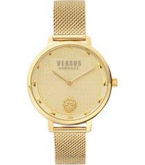 versus by versace women's la villette gold-tone stainless steel mesh bracelet watch 36mm