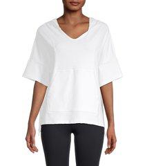 kensie women's elbow sleeve pullover hoodie - white - size m