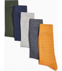 mens multi assorted colour waffle socks 5 pack