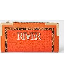 river island womens orange river embossed purse