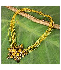 tiger's eye beaded pendant necklace, 'twigs and flowers' (thailand)