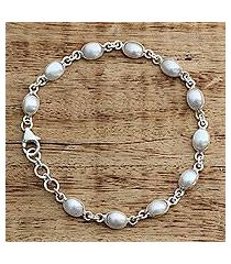 cultured pearl tennis bracelet, 'romantic aura' (india)