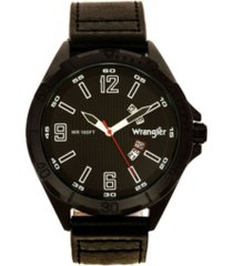wrangler men's watch, 48mm ip black case with textured black dial, arabic numerals, rugged brown texture strap, analog, second hand, date function