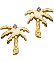 palm tree earrings in fine silver plate
